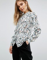 Warehouse Zig Zag Ruffle Blouse