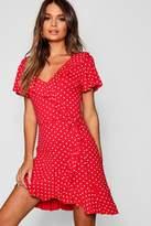 boohoo Polka Dot Wrap Front Ruffle Tea Dress