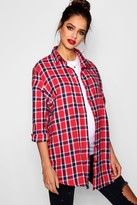 boohoo Maternity Ella Check Shirt red