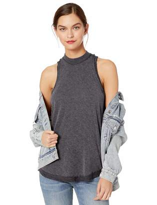 August Sky Women's Casual Washed Look Mock Neck Knit Racerback Tank with Raw Edge Hem-Charcoal-S