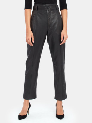 Joie Trula High Rise Leather Ankle Pant