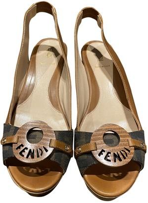 Fendi Brown Leather Sandals