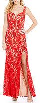 Jodi Kristopher Two-Tone Sweetheart Neckline Lace Long Dress