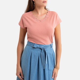Anne Weyburn Embroidered Crew-Neck T-Shirt with Short Sleeves in Cotton Mix