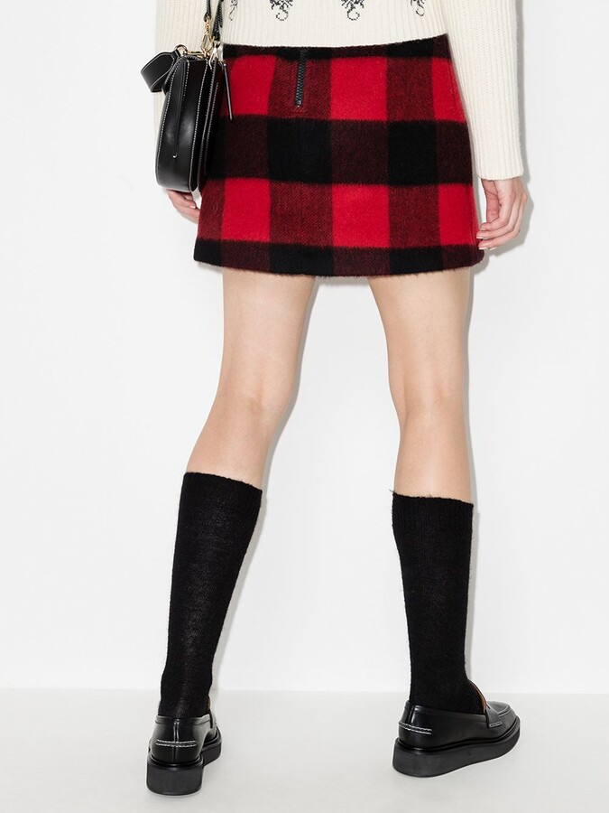 Thumbnail for your product : Ganni Black Check Mini Skirt