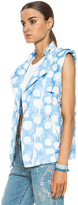 MSGM Floral Cotton-Blend Moto Vest