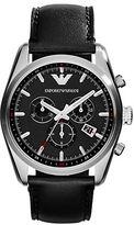 Emporio Armani Mens New Tazio Silvertone and Black Chronograph Watch