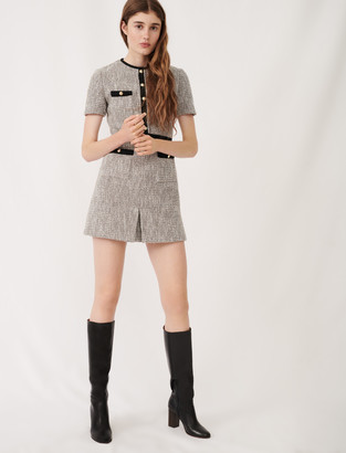 Maje Tweed-style dress with contrast details