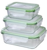 GOURMETmaxx 06527 Glass Storage Containers with Lid | 3 Piece Set | Ovenproof | Stackable