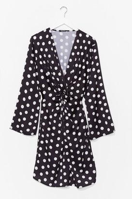 Nasty Gal Womens Twist It Plus Polka Dot Mini Dress - Black