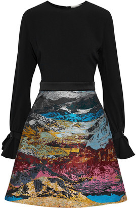 Mary Katrantzou Ligretto Crepe And Metallic Jacquard Mini Dress