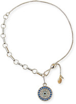 Alex and Ani Pave Round Evil Eye Pull-Chain Bracelet, Silver