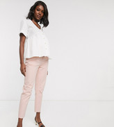 Asos DESIGN Maternity Mom jeans in washed pink with over the bump band