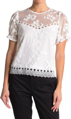 Laundry by Shelli Segal Embroidered Puff Sleeve Lace Top