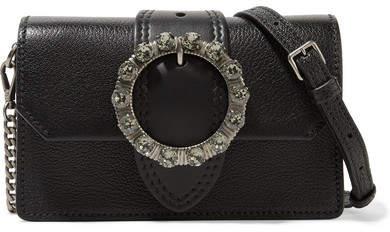 Miu Miu Miu Lady Embellished Smooth And Textured-leather Shoulder Bag - Black