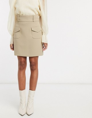 And other stories & double pocket structured mini skirt in beige