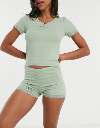Topshop rib lace pajama set in sage green