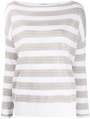 Brunello Cucinelli Striped Boat-Neck Jumper