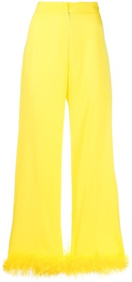 Silvia Astore Feather-Embellished Cropped Trousers
