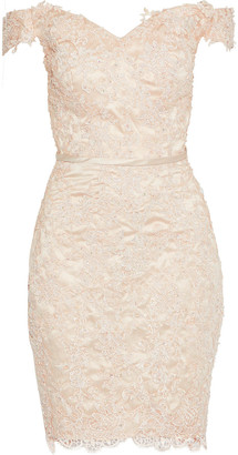 Raoul Off-the-shoulder Embellished Guipure Lace-appliqued Tulle Mini Dress