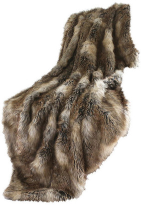 """Best Home Fashion Luxe Faux Fur Throw Blanket, Amber Fox, 58""""x60"""""""