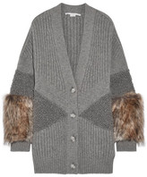 Stella McCartney Faux Fur-trimmed Ribbed Wool Cardigan - Gray