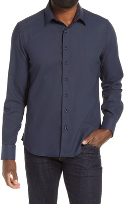 Stone Rose Dry Touch Pique Knit Performance Button-Up Shirt