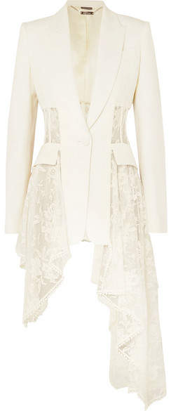 Alexander McQueen Asymmetric Wool-blend Crepe And Lace Blazer - Ivory