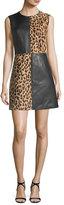 Diane von Furstenberg Paneled Sleeveless Crewneck Leopard-Print Leather Mini Dress
