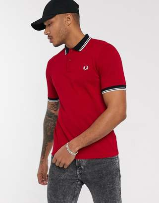 Fred Perry contrast tipped collar polo in red
