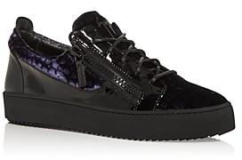 Giuseppe Zanotti Men's Meredith Velvet Zip Low Top Sneakers