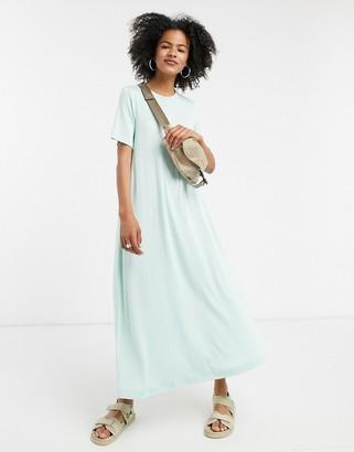 Weekday Samira slinky maxi t-shirt dress in sea green