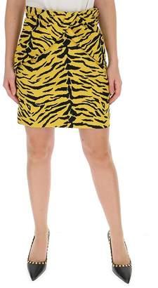 Saint Laurent Tiger Print Peplum Skirt