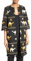 Kate Spade Women's Tassel Trim Camel Print Coat