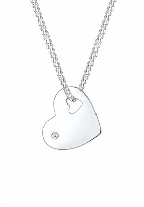 Diamore Women's 925 Sterling Silver 0.02 ct Diamond Heart Love Friendship Token Pendant with Chain of Length 45 cm