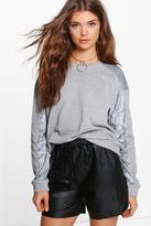 boohoo Tall Fabie Velvet Panel Sweatshirt grey marl