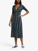 Boden Kassidy Floral Midi Dress, Navy/Garden Party Green