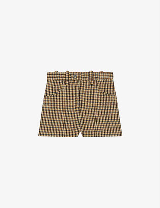 Maje Ivland checked high-rise wool-blend shorts