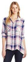 Seven7 Women's High-Low Long Sleeve Plaid Button Up Shirt
