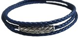 David Yurman Chevron Triple Wrap Blue Leather Braided Cord Silver Bracelet