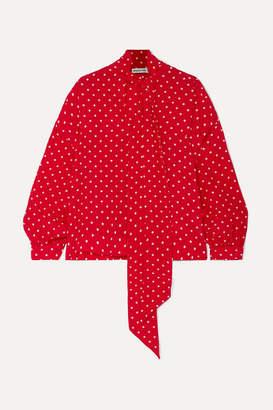 Balenciaga Pussy-bow Polka-dot Silk Crepe De Chine Blouse - Red