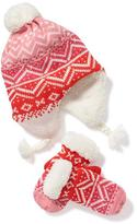 Old Navy Patterned Trapper Hat & Mittens Set for Toddler