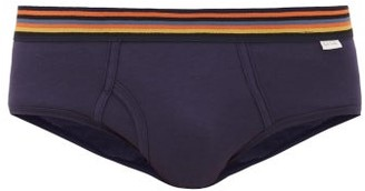 Paul Smith Artist-stripe Cotton-jersey Briefs - Mens - Navy