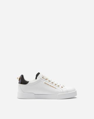 Dolce & Gabbana Calfskin Nappa Portofino Sneakers With Lettering
