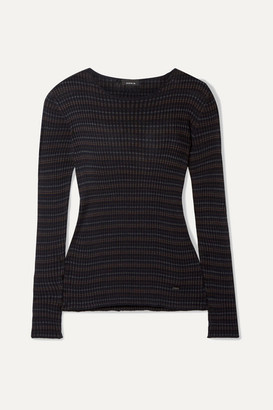 Akris Striped Mulberry Silk Sweater - Black