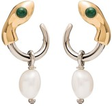 Chloé Snake silver and gold-tone pearl drop earrings