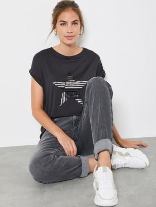 Mint Velvet Stripe Sequin Star T-shirt - Charcoal