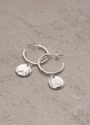 Mint Velvet Silver Drop Disc Hoop Earrings