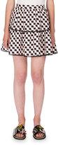 Kenzo Silk Jacquard Scalloped Check Skirt, White