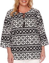 Alfred Dunner Sao Paolo 3/4-Sleeve Tie-Front Geometric Blouse - Plus